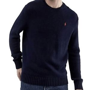 POLO RALPH LAUREN MEN'S NAVY CREWNECK SWEATER: M